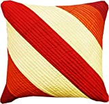 "EtsiBitsi Garnet 16"" By 16"" Multicolour Silk Stripes Zipper Cushion Cover - Golden Orange Shade"