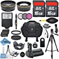 Mega Professional Accessory Bundle Kit for Canon EOS 5D Mark III DSLR Camera with 32GB in Memory + 2X Telephoto Lens + Wide Angle + Multi-Power Battery Grip + SLR Auto Flash + LP-E6 Battery + More!
