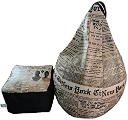 Digital Printed Newspaper Bean Bag Puffy Combo Cover