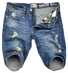 Men\'s Fashion Ripped Distressed US Flag Printed Denim Shorts Blue 34