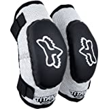 Fox Racing Pee Wee Titan Elbow Guards Black Silver (Ages 6-9 MD/LG 08039-464-OS)