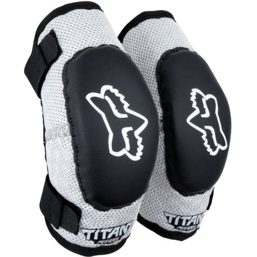 Fox Racing Pee Wee Titan Elbow Guards Black Silver (Ages 4-7 Sm/Md 08038-464-Os) front-909100