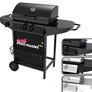 broil-master® BBQG02EUblack Barbeque Gas Grill BBQ Professional 2 Burner Gas Wagon with Side Burner 2 +1 Black (Design tested by TÜV Rheinland)