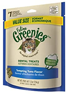 Feline Greenies Dental Treats Tempting Tuna for Cats, 5.5-Ounce