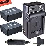 Pack of 2 DMW-BLC12 Batteries and Battery Charger for Panasonic Lumix DMC-G6K, DMC-GH2, DMC-G5, DMC-FZ200, DMC-FZ1000 Digital Camera + More!!