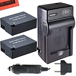 Pack of 2 DMW-BLC12 Batteries and Battery Charger for Panasonic Lumix DMC-G85, DMC-FZ2500, DMC-GX8, DMC-G7, DMC-G6K, DMC-G6KK, DMC-GH2, DMC-G5, DMC-FZ200, DMC-G6K, DMC-GH2, DMC-GH5, DMC-G5, DMC-FZ300, DMC-FZ1000 Digital Camera