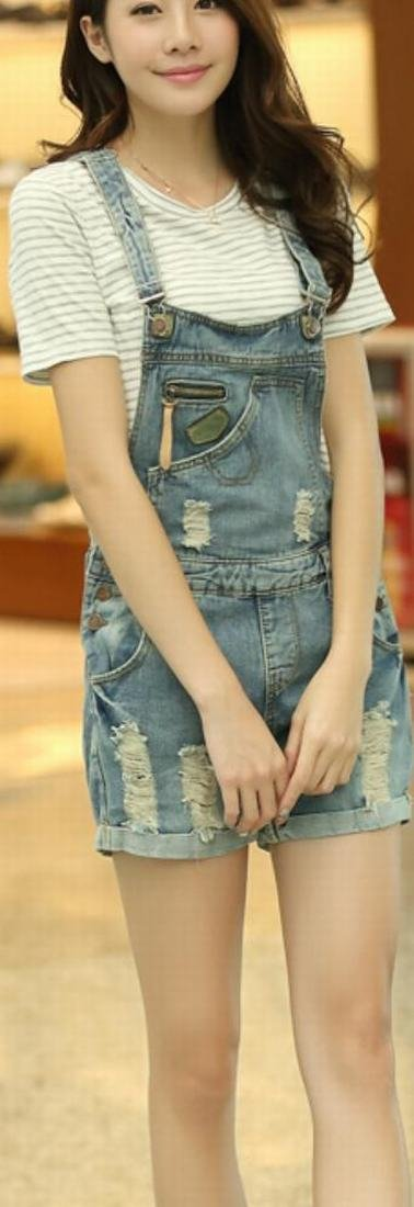 ASL Women Fashion Casual Denim Holes Vintage Overall 2