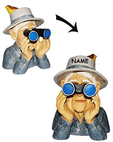 """"""" Spanner am Gartenzaun """" - Jäger / Opa mit Hut, Vogel & Fernglas - incl. Name - große XL Figur - aus Kunstharz - Großvater - Zaun / Zaunfigur - Hecke - Heckenfigur / Gartenzwerg / Gartendeko Garten - Nachbar Reisen Urlaub"""
