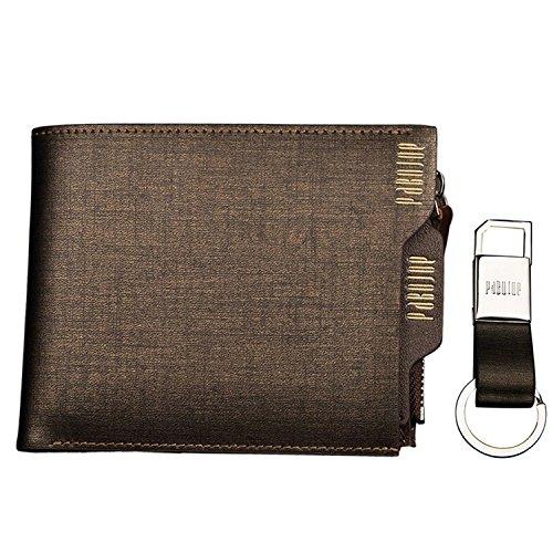 Portafogli da uomo in vera pelle con tasca per monete Pabojoe con portachiavi