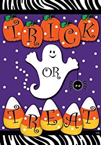 Trick or Treat - Halloween Ghost Pumpkins and Candy Corn Garden Size 12 X 18 Inch Decorative Flag by Custom Decor