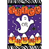 Trick or Treat – Halloween Ghost Pumpkins and Candy Corn Garden Size 12 X 18 Inch Decorative Flag – $10.99!