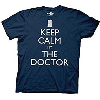 Doctor Who Keep Calm I'm The Doctor Mens T-shirt (Extra Large, Navy Blue)