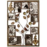 Adeco 9-Opening Decorative Bronze Iron Wall Hanging Collage Photo Frame, Various Sizes