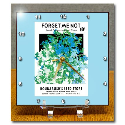 dc_170157_1 BLN Vintage Seed Packet Reproductions - Forget Me not Dwarf Compact Roudabushs Seed Store - Desk Clocks - 6x6 Desk Clock