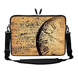 Meffort Inc 15 15.6 inch Neoprene Laptop Sleeve Bag Carrying Case with Hidden Handle and Adjustable Shoulder Strap - Clock