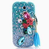 3D Luxury Swarovski Crystal Sparkle Diamond Bling Aqua Pink Flowers Charm Design Case Cover for Samsung Galaxy S4 S 4 IV i9500 fits Verizon, AT&T, T-mobile, Sprint and other Carriers (Handcrafted by BlingAngels®)