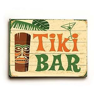 Tiki bar 25 x34 planked wood sign wall decor for Bar decor amazon