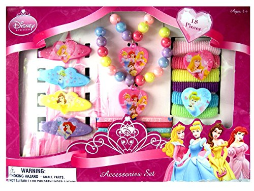 Disney Princess 18 Piece Necklace, Bracelet & Hair Accessory Set - 1