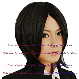 NEW Fashion HOT sexy Jet Black Blonde Straight Anime cosplay wigs party Masquerade girls 30cm