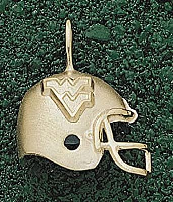 West Virginia Mountaineers WV Helmet Pendant - 14KT Gold Jewelry by Logo Art