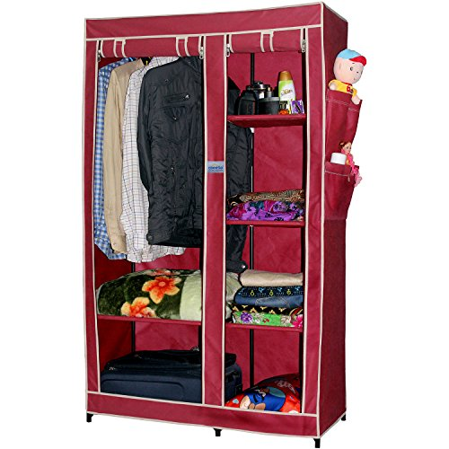CbeeSo Portable Metal Frame Wardrobe Closet- (39 x 18 x 65 inches, Maroon)