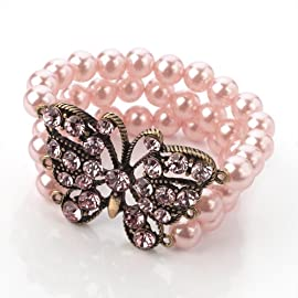 Pearl & Crystal Butterfly Fashion Bracelet  Pink & Burnt Gold