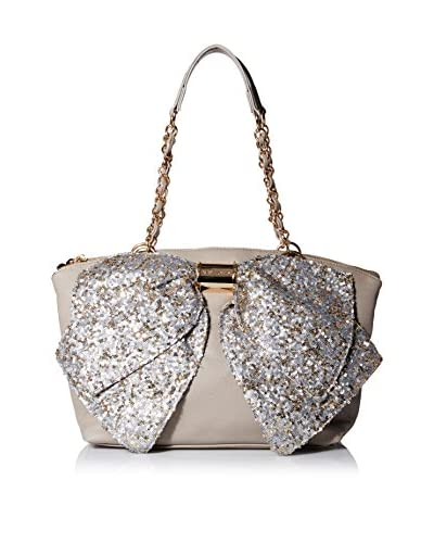 Betsey Johnson Women's Bow-Nanza Glam Satchel, Stone