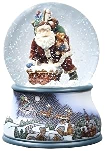 Musical Snow Globe Santa Down the Chimney Glitterdome Collection Roman 36471