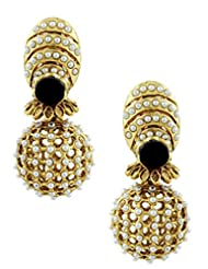 The Art Jewellery Black Stone & Moti Rajwadi Net Dangle&Drop Earrings For Women