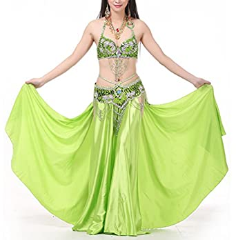 Belly Dance Set Belly Dance Performance Wear, Halter Bra Top, Skirt and Belt Rose Red