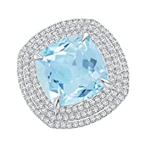 buy Claw Cushion Aquamarine And Diamond Triple Framed Cocktail Ring In Platinum