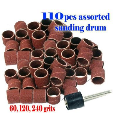 """110 Pc + 1 Assorted Rotary Tool Sanding Drum 1/2"""" X 1/2"""" , 60 , 120 , 240 Grits Rotary Tool Suit For Dremel 445 432 408 3000 4000 8220-2/28 395 7700-1/15 4000 3/34 Chicago Electric, Milwaukeen Nextec 1/8"""" Shank Hobby Clean Polish"""