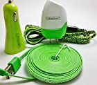 CablesFrLess 4 in 1 Leopard Print Tangle Free Noodle Style Micro USB and Auxiliary Accessory kit fits Android Samsung Galaxy S3 S4 Reverb Note Google Nexus HTC One Kindle Fire HD Touch Acer LG Optimus Pantech Blackberry Motorola HTC Sony Ericsson and most other micro USB devices (10ft Green)