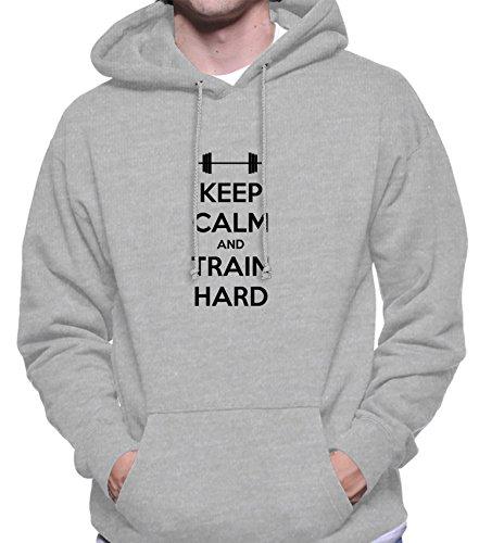 Hoodie da uomo con Keep Calm And Train Hard New Years Resolution Phrase stampa. X-Large, Grigio