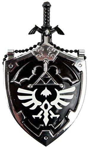 Mini DARK Hylian Shield & Links Master Sword Legend of Zelda Necklace