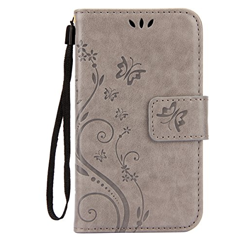 IKASEFU Pure Color Retro Butterfly Design Folio Leather Wallet Case Cover with Strap for Samsung Galaxy S3 Mini-Butterfly,Gray (Folio Samsung S3 Mini compare prices)