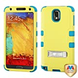 Samsung Galaxy Note 3 III N9005 N9000 Hybrid Rubber Case With Metal Stand Protector Cover Case - Baby Yellow/ Tropical Teal