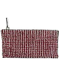 Red Wool Design Beaded Hand Bag Zipper Pouch