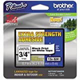 Brother extra strength Tape, Black on White, 18mm (TZeS241) - Retail Packaging