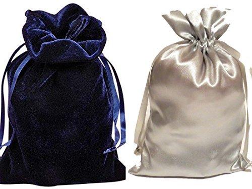 "Tarot Bags: Navy Blue Velvet and Silver Satin Luxurious Duo Bundle 6"" X 9"""