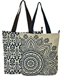 #8: Large Blue Flower and Small Blue print on accrue combo tote