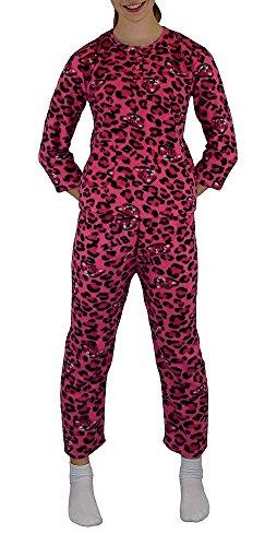 Mädchen Zweiteiliger Schlafanzug/ Pyjama super weich Gr.: 6 - 14 / 116 - 164 mit einer Knopfleiste am Hals Pink 6 116-122