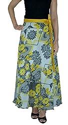 DeeVineeTi Printed Women's Wrap Around Skirt, White & Yellow, FreeSize