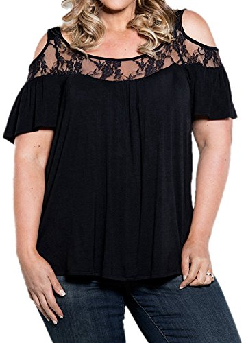 PinupArt Women's Off the Shoulder Classic Pull-On plus Size Lace Knit Top, XX-Large, Black (Black Plus Size Tops compare prices)