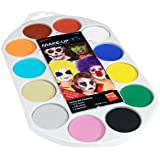 Smiffy's Face Paint Pallet, Brush and Sponge - 12 Colours