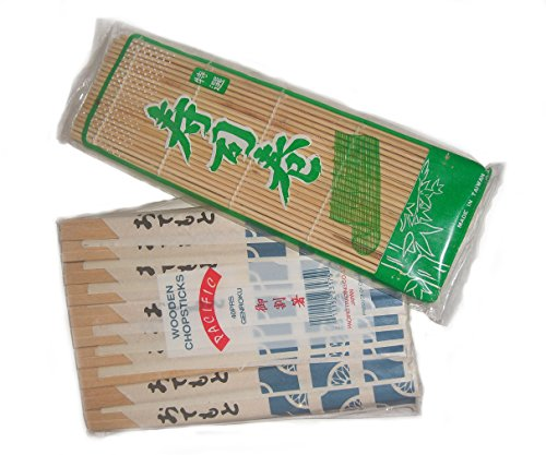 Disposable Wooden Chopsticks, pack of 40 pair with Sushi Rolling Kit 1 pack