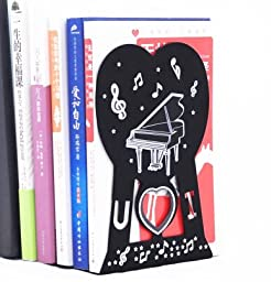 1Pair Piano Style Nonskid Bookends Art Bookstand black