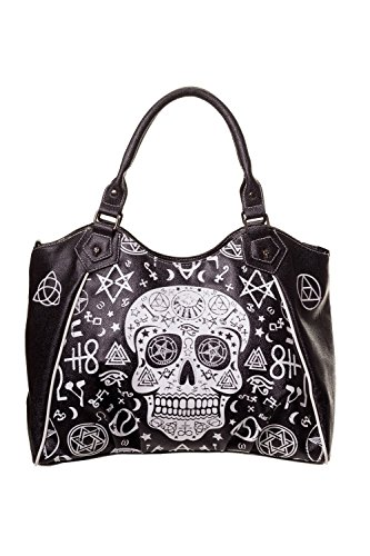 Banned Black Skull Pentagram Handbag - Black / One Size