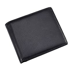 eBoot RFID Blocking Leather Wallet with Small and Slim Security Bifold for Men (Black)