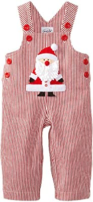 Cute Baby Boy Christmas St. Nick Overalls by Mud Pie